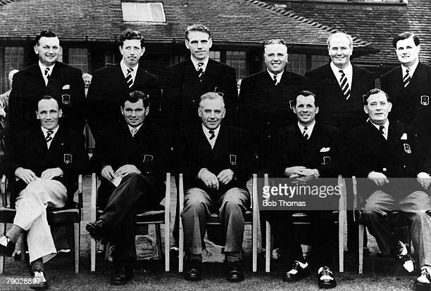 Golf 1951 Ryder Cup A group picture of the Great Britain and Northern Ireland team A Lees K Bousfield H Weetman J Hargreaves J Adams J Panton CH Ward...