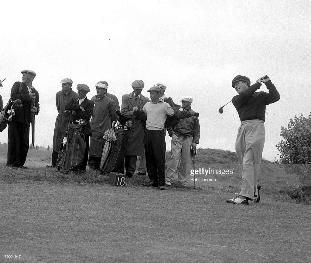 Golf. 1952 British Open Championship at Lytham. A picture of Peter Thomson of Australia playing a shot. : News Photo