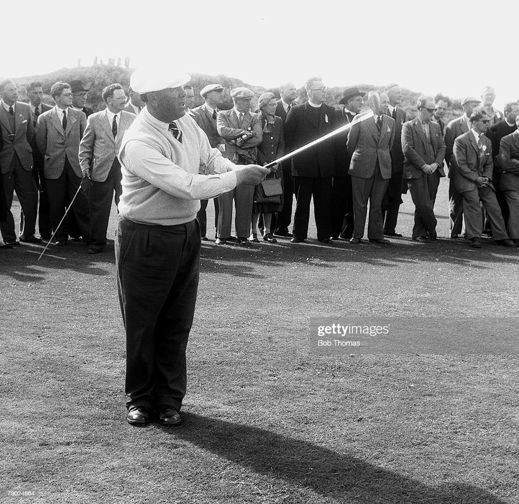 Golf. 1954 British Open Championship at Royal Birkdale. A picture of Harry Bradshaw of Great Britain playing a shot. : News Photo
