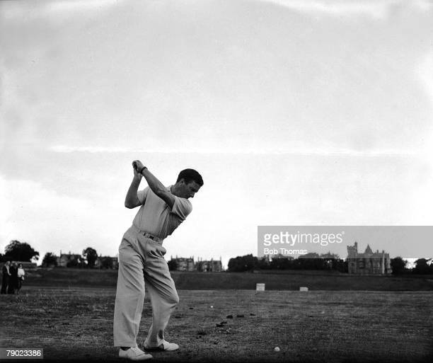 1957 St Andrews British Open Championship Australian legend Peter Thomson takes a swing at the ball on the driving range