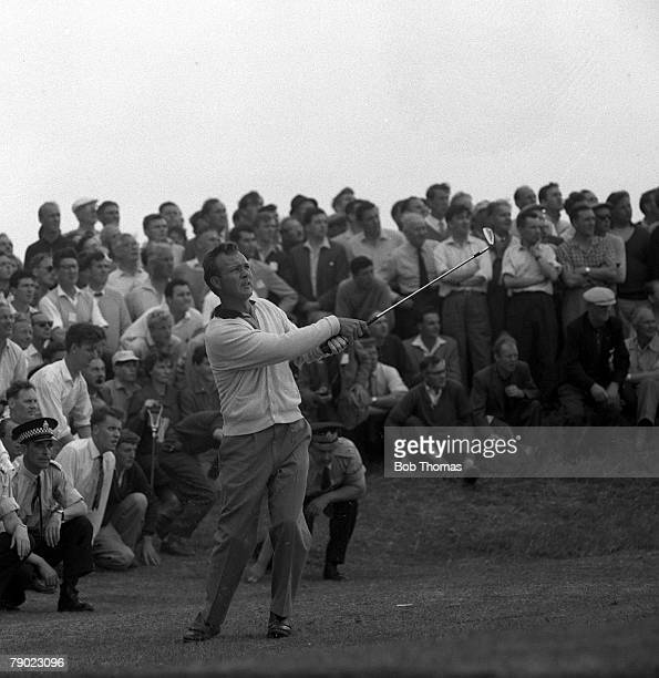 Golf, 1962 British Open Golf Championship, Royal Birkdale, Lancashire, U,S,A's Arnold Palmer hits a lofted approach shot