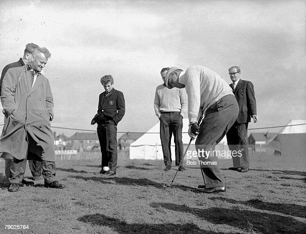1962 Southport Lancashire A picture of the legendary US golfer Jack Nicklaus hitting a pitch shot during practise watched by a handful of spectators
