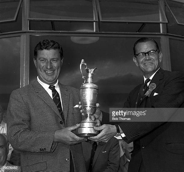 Golf 1965 British Open Golf Championship Royal BirkdaleAustralia's Peter Thomson with the Claret Jug after his victory his 5th British Open success