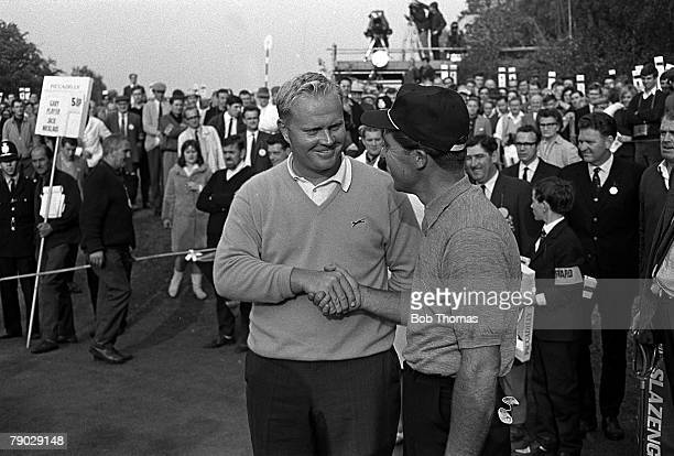 Golf, 1966 World Matchplay Championship, Wentworth, South Africa's Gary Player, right, congratulated on his victory by U,S,A,'s Jack Nicklaus
