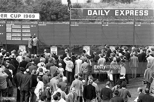 Golf 1969 Ryder Cup at Royal Birkdale A general view of the scoreboard with the crowds of spectators