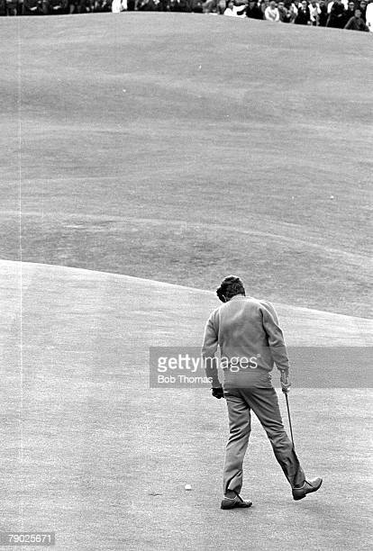 Golf 1970 British Open Championship at St Andrews A picture of Doug Sanders of the USA as he misses the vital putt on the 18th during the playoff...