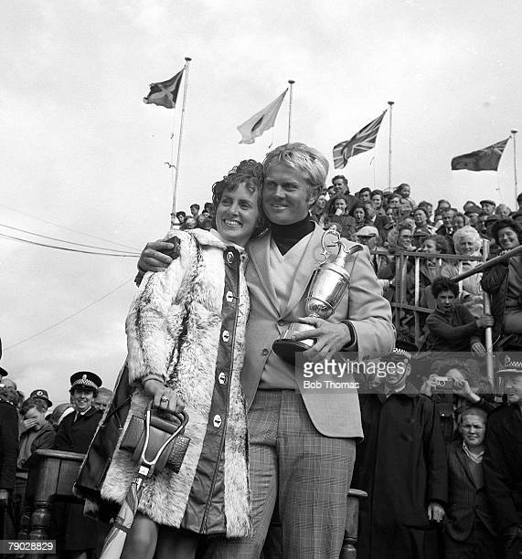 Golf 1970 British Open Championship at St Andrews A picture of Jack Nicklaus of the USA celebrating whilst holding the claret jug with his wife...