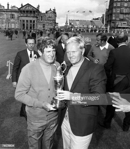 Golf 1970 British Open Championship at St Andrews A picture of Jack Nicklaus of the USA celebrating whilst holding the Claret jug with Doug Sanders...