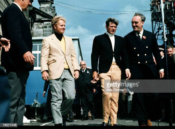 Golf 1970 British Open Golf Championship Champion USA's Jack Nicklaus comes out for the presentation withrunnerup USA's Doug Sanders with William...