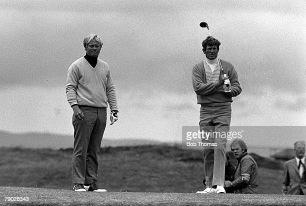 Golf 1970 British Open Golf Championship St Andrews USA's Jack Nicklaus left who became the 1970 Champion with Doug Sanders USA who he beat in the...