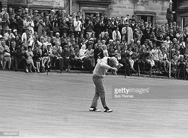Golf 1970 British Open Golf Championship St Andrews USA's Jack Nicklaus takes avoiding action after throwing his putter in celebration after he had...
