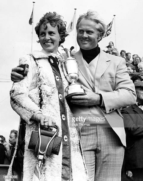 Golf 1970 Open Championship StAndrews US golferJack Nicklaus poses with wife Barbara after winning the tournament holding the Open trophy