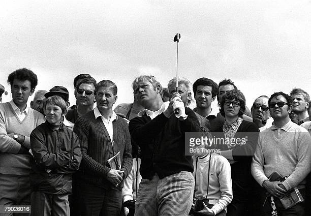 Golf 1971 British Open Golf Championship Royal Birkdale July America's Jack Nicklaus followed by a large gallery of fans as he makes his way around...