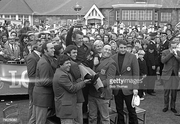 Golf 1973 Ryder Cup at Muirfield A picture of the victorious USA team celebrating with the trophy