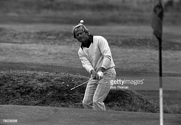 Golf 1975 British Open Golf Championship Carnoustie USA 's Jack Nicklaus playing a difficult shot from a bunker