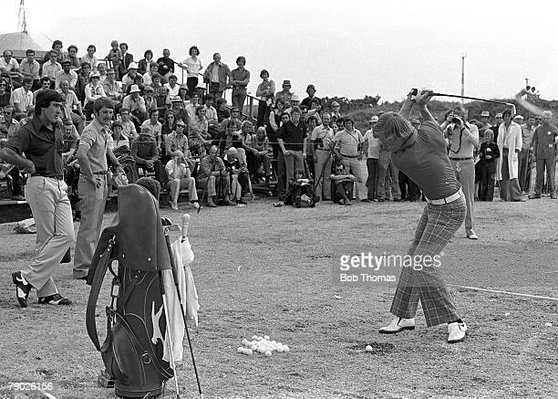Golf 1976 British Open championship at Birkdale Johnny Miller of the USA watched by Seve Ballesteros during training