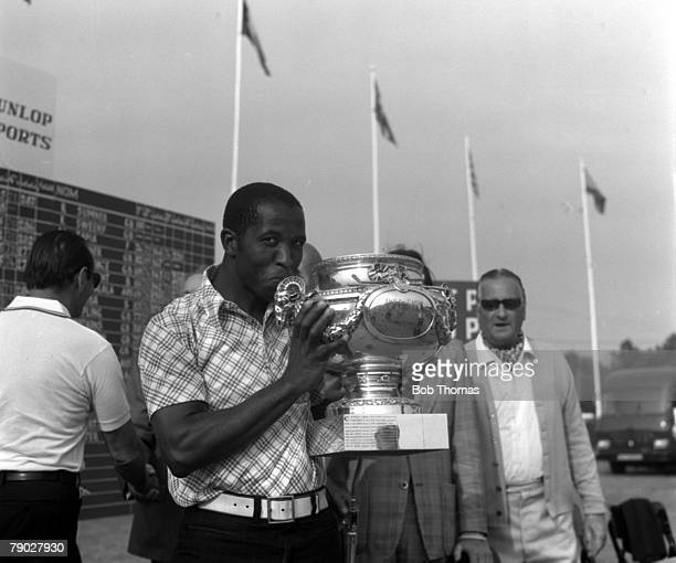 Golf 1976 French Open Golf Championship South Africa's Vincent Tshabalala celebrates with the trophy `after his victory