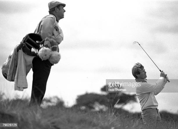 Golf 1978 British Open Championship A picture of Tom Watson of the USA playing a shot with his caddie looking on