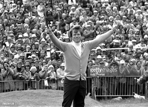 Golf 1980 British Open Championship A picture Tom Watson of the USA overjoyed as he celebrates his victory
