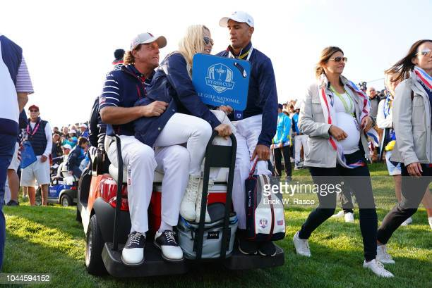 2018 Ryder Cup Team USA Phil Mickelson with wife Amy on cart during Friday Foursomes play at Le Golf National Paris France 9/28/2018 CREDIT Erick W...