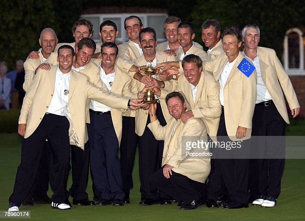 Golf 34th Ryder Cup Matches The Belfry England 29th September 2002 Europe 15 1/2 beat USA 12 1/2 The European Ryder Cup team with trophy in front of...