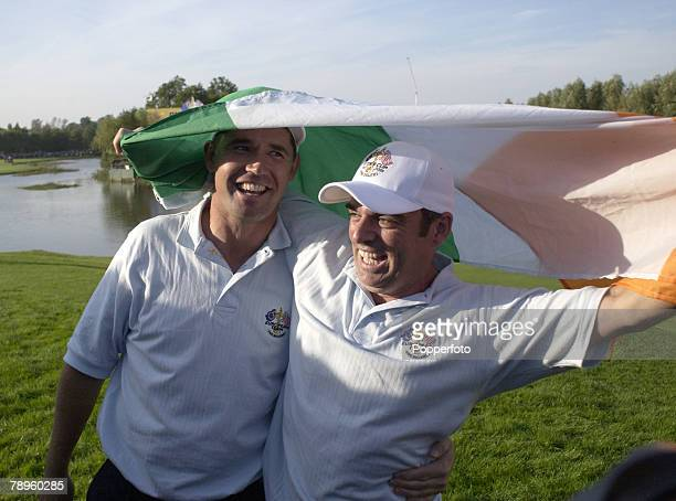Golf, 34th Ryder Cup Matches, The Belfry, England, 29th September 2002, Europe 15 1/2 beat USA 12 1/2, Europe's Paul McGinley and Padraig Harrington...