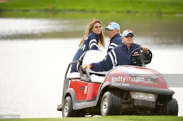 38th Ryder Cup Team USA vicecaptain Tom Lehman with wife Melissa Lehman in golf cart during Sunday Fourball Matches at Celtic Manor Resort Newport...