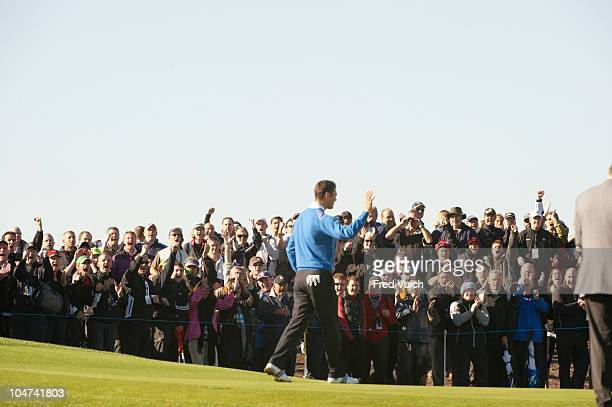 38th Ryder Cup View of fans in gallery cheering Team Europe Martin Kaymer during Monday Singles Matches at Celtic Manor Resort Newport Wales...