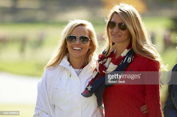 39th Ryder Cup Amy Mickelson wife of Team USA Phil Mickelson and Jillian Stacey girlfirend of Keegan Bradley posing during Saturday Foursomes at...