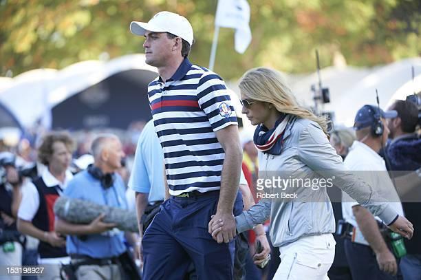 39th Ryder Cup Team USA Keegan Bradley with his girrlfriend Jillian Stacey during Sunday Singles matches at Medinah CC Medinah IL CREDIT Robert Beck