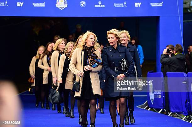 40th Ryder Cup Hilary Watson wife of Team USA captain Tom Watson with Allison McGinley wife of Team Europe captain Paul McGinley during Opening...