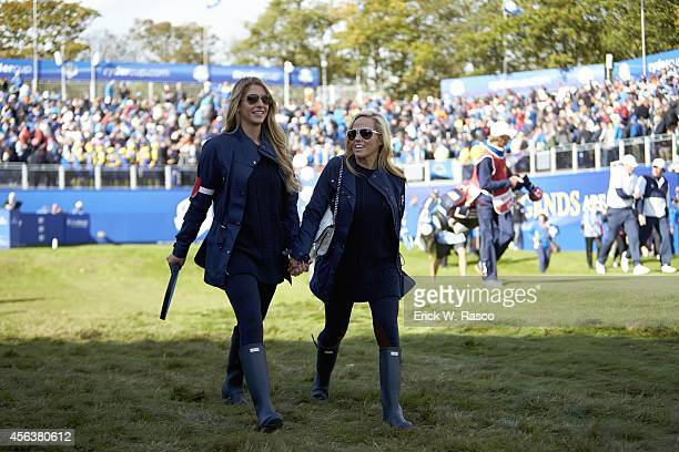 40th Ryder Cup Jillian Stacey girlfriend of Team USA Keegan Bradley and Amy Mickelson wife of Phil Mickelson during Friday Foursomes Matches on PGA...