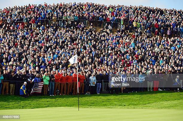 40th Ryder Cup Overall view of fans and spectators looking on during Saturday Fourball Matches on PGA Centenary Course at The Gleneagles Hotel...