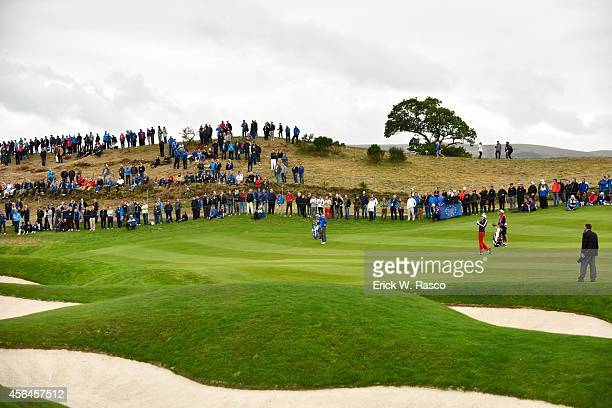 40th Ryder Cup Overall view of Team USA Keegan Bradley in action during Sunday Singles Matches on PGA Centenary Course at The Gleneagles Hotel Scenic...