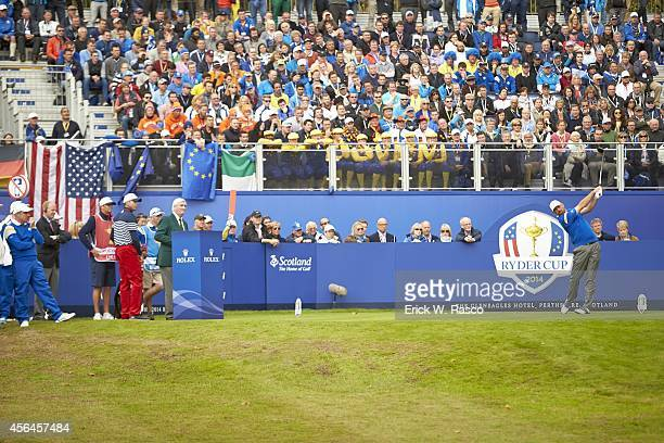 40th Ryder Cup Team Europe Thomas Bjorn in action drive during Sunday Singles Matches on PGA Centenary Course at The Gleneagles Hotel Auchterarder...