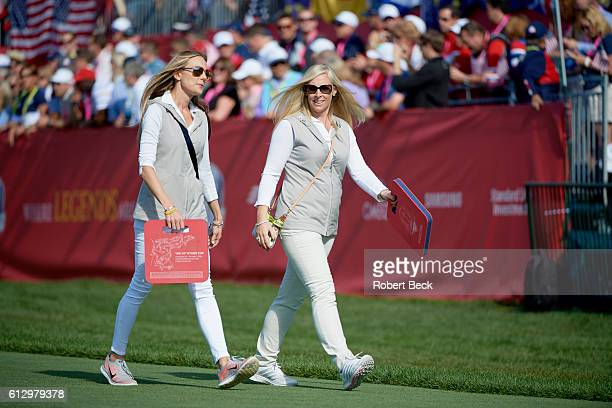 41st Ryder Cup Erica Stoll fiance of Team Europe Rory McIlroy walking with Caroline Harrington wife of Vicecaptain Padraig Harrington during Sunday...