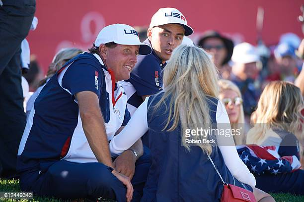 41st Ryder Cup Team USA Phil Mickelson with wife Amy and Rickie Fowler during Singles at Hazeltine National GC Chaska MN CREDIT Robert Beck