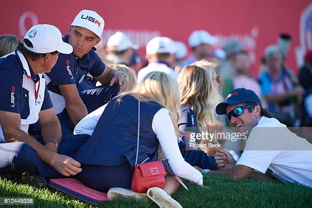 41st Ryder Cup Team USA Phil Mickelson with wife Amy Rickie Fowler and Bubba Watson during Singles at Hazeltine National GC Chaska MN CREDIT Robert...