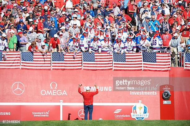 41st Ryder Cup View of fans in stands wearing Ryder Cup hockey jersies during Singles at Hazeltine National GC Chaska MN CREDIT Robert Beck