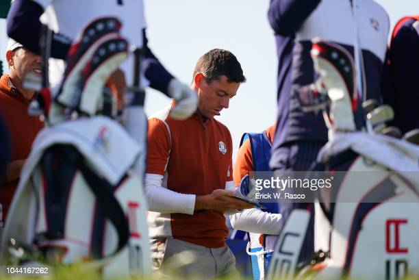 42nd Ryder Cup Closeup of Team Europe Rory McIlroy looking at scorecard vs Team USA during Saturday Morning Fourballs at Le Golf National Paris...