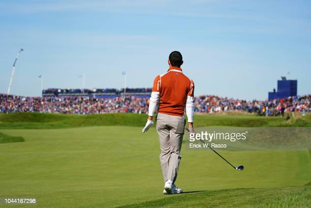 42nd Ryder Cup Rear view of Team Europe Rory McIlroy in action driving vs Team USA during Saturday Morning Fourballs at Le Golf National Paris France...