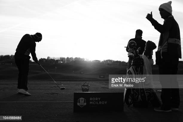 42nd Ryder Cup Silohouette of Team Europe Rory McIlroy in action driving during practice vs Team Europe during Saturday Morning Fourballs at Le Golf...