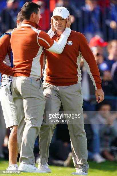 42nd Ryder Cup Team Europe Rory McIlroy and Sergio Garcia victorious vs Team USA during Saturday Morning Fourballs at Le Golf National Paris France...