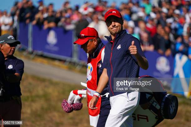 42nd Ryder Cup Team USA Justin Thomas in action giving thumbs up to fans during Sunday Singles at Le Golf National Paris France 9/30/2018 CREDIT...