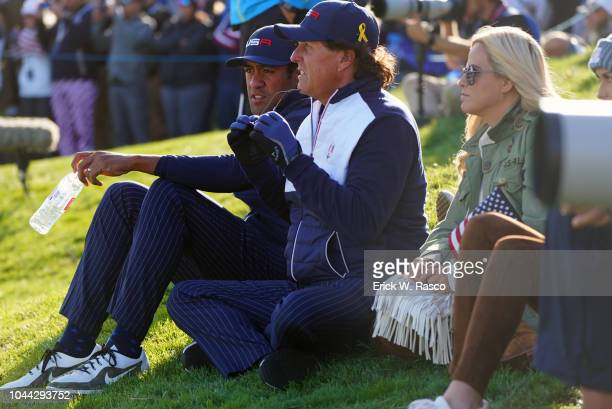 42nd Ryder Cup Team USA Tony Finau Phil Mickelson and wife Amy watching play vs Team Europe during Saturday Afternoon Foursomes at Le Golf National...