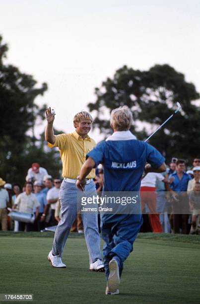 53rd PGA Championship Jack Nicklaus victorious with caddie after winning tournament on Sunday at PGA National GC Palm Beach Gardens FL CREDIT James...