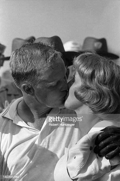 62nd US Open Closeup of Jack Nicklaus victorious kissing his wife Barbara Nicklaus after winning playoff vs Arnold Palmer on Sunday at Oakmont CC...