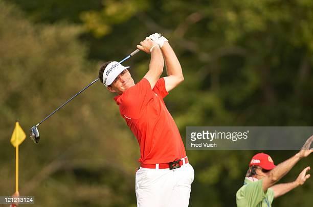 9No 3 PGA Championship: Keegan Bradley in action, drive during Sunday play at The Highlands Course of the Atlanta Athletic Club. Johns Creek, GA...