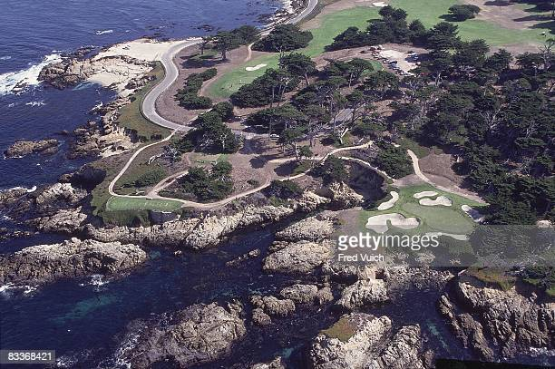 Aerial scenic view of No 14 green and No 15 at Cypress Point Club Pebble Beach CA 1/1/1990 CREDIT Fred Vuich