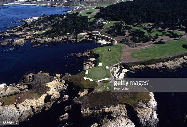 Aerial scenic view of No 15 , No 16 , and clubhouse at Cypress Point Club. Pebble Beach, CA 1/1/1990-- CREDIT: Fred Vuich